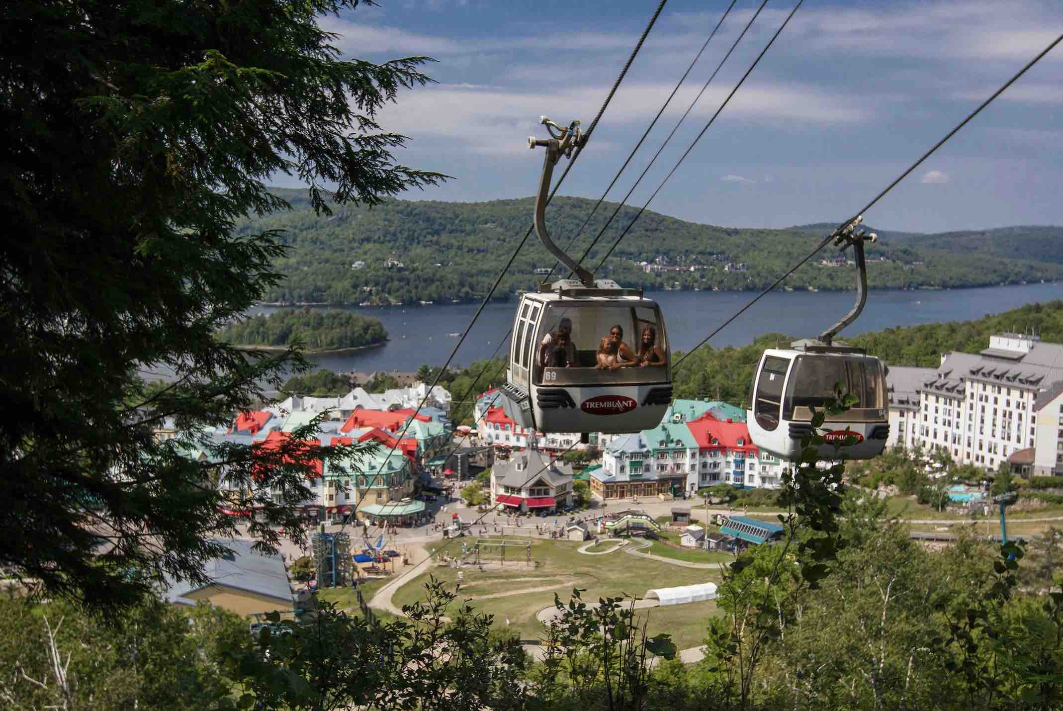 Gondola riders at Mont-Tremblant in summer