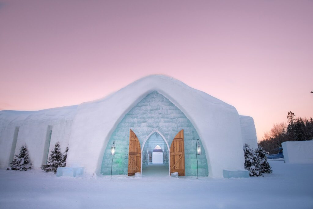 ôtel de Glace - exterior of most unique hotels in Quebec city showing ice hotel main entrance