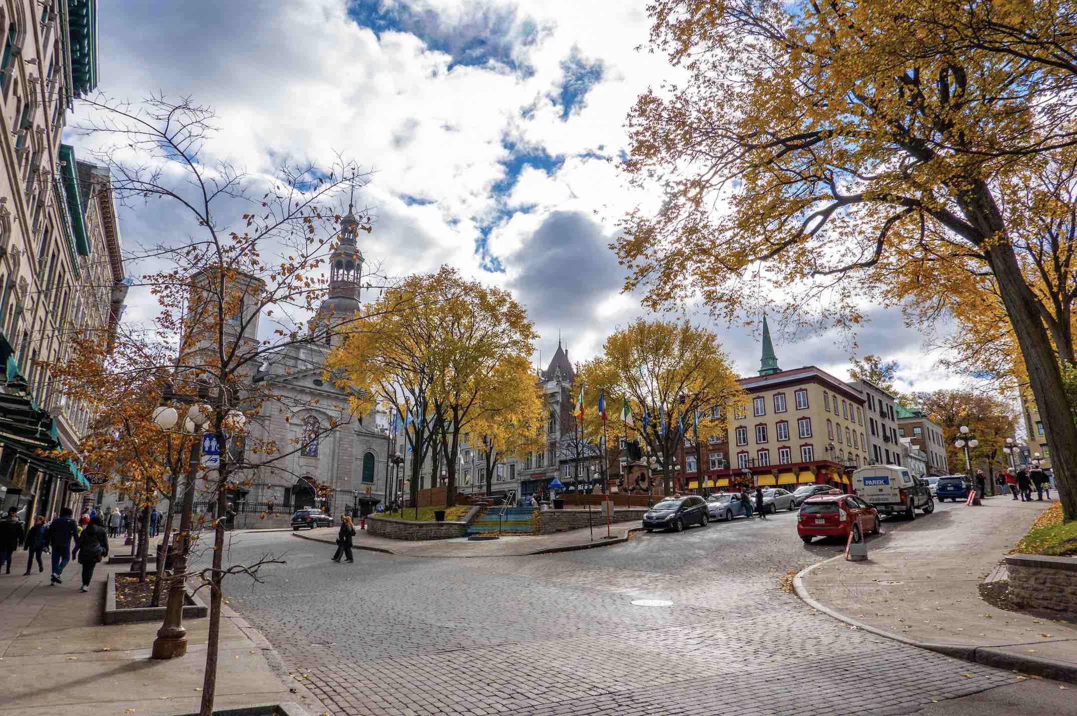 Walking tour nathalia-things to do in old Quebec City cobbled street and city square copy